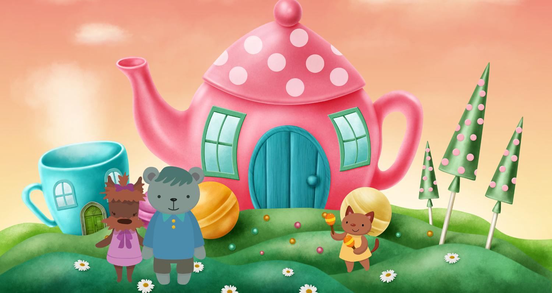 SAtumaisen teepannukodin edustalla Nalle- ja villakoiravanhemmat sekä helistimiä soittava kissalapsi.